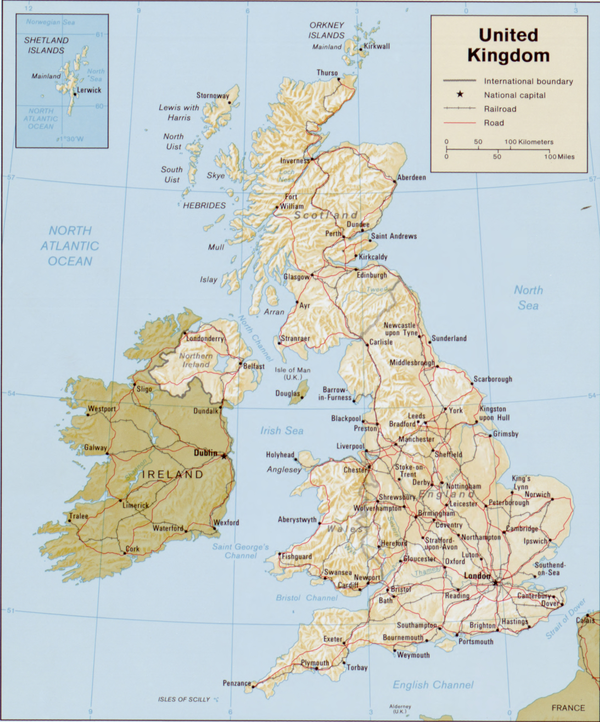 Map of the British Isles 1987. United Kingdom.