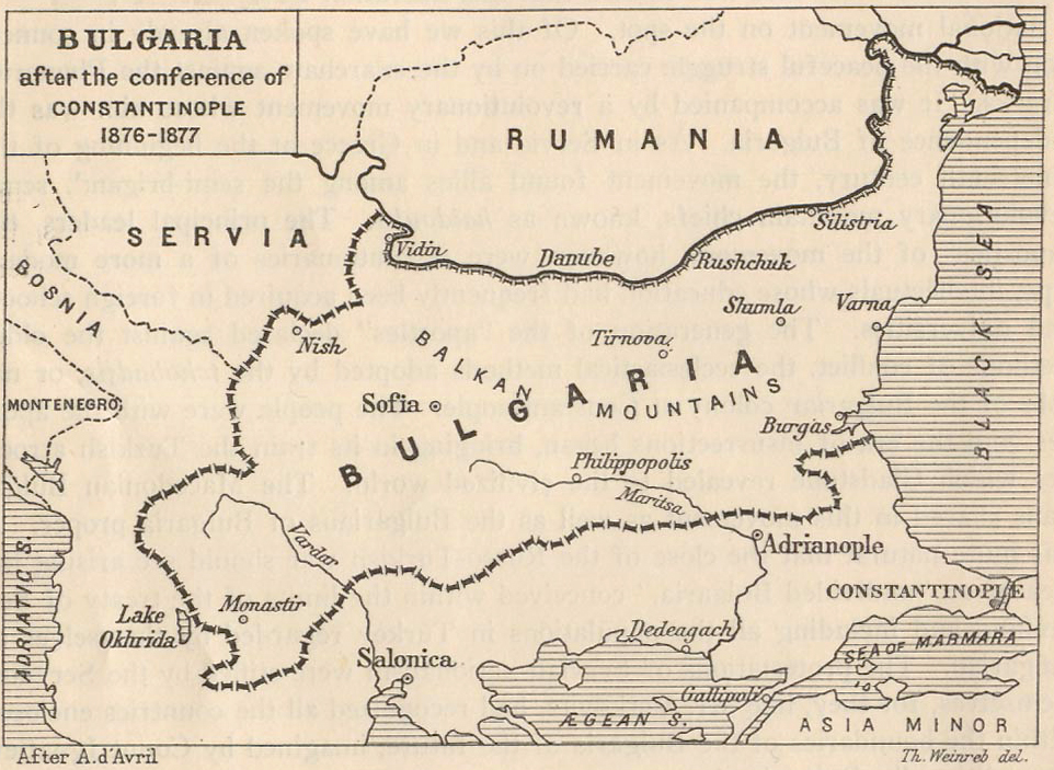 Map of Bulgaria 1876