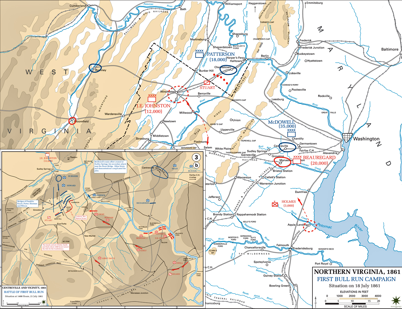 Map Of The First Bull Run Campaign 1861