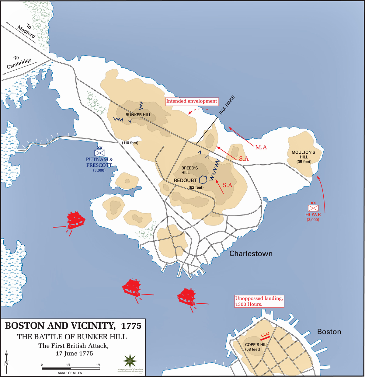 Map Of The Battle Of Bunker Hill June 17 1775 First British Attack