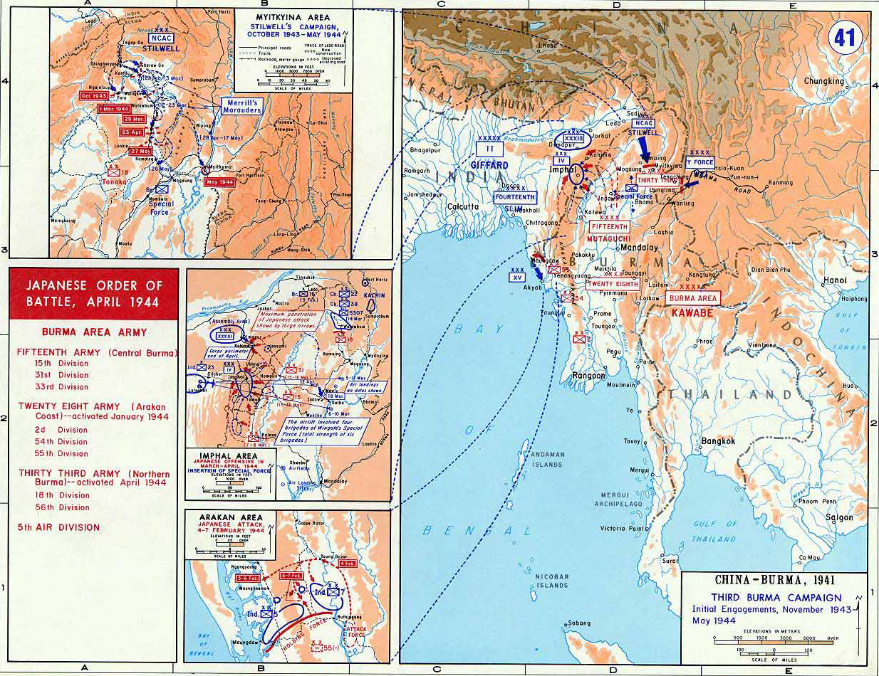 Map of wwii third burma campaign 194344 map of world war ii china and burma third burma campaign initial engagements gumiabroncs Gallery