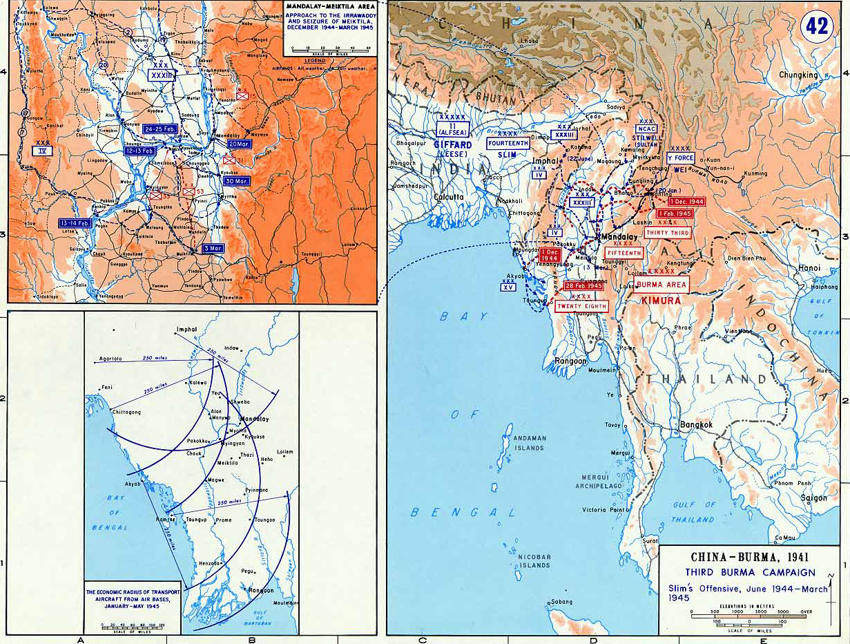 Map of wwii third burma campaign 194445 map of world war ii china and burma third burma campaign slims offensive gumiabroncs Image collections