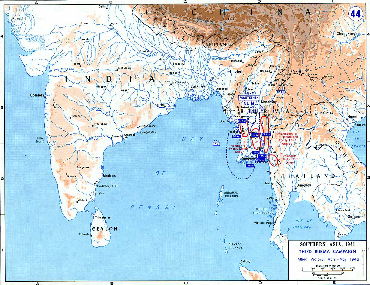 Map Of WWII Third Burma Campaign - Burma in world map