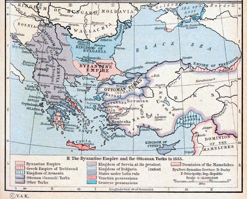 Map of the Byzantine Empire and the Ottoman Turks in 1355