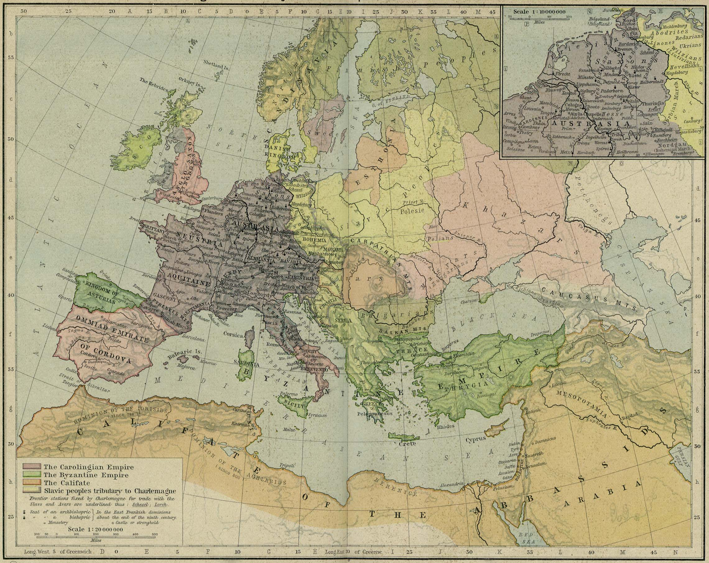 Map of the Carolingian and Byzantine Empires and the Califate about 814. Inset: Northern Austrasia 814