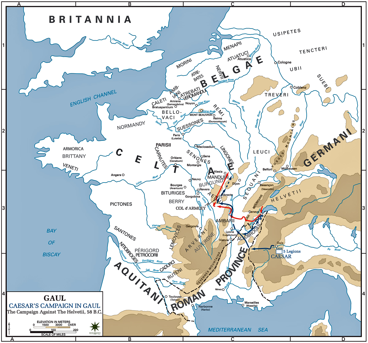 Map of Caesars Campaign Against the Helvetii 58 BC