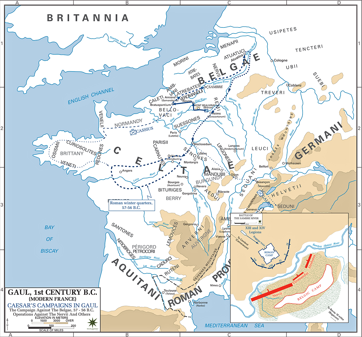 Map of Caesar's Campaign Against the Belgae 57 / 56 BC - Operations Against the Nervii and Others