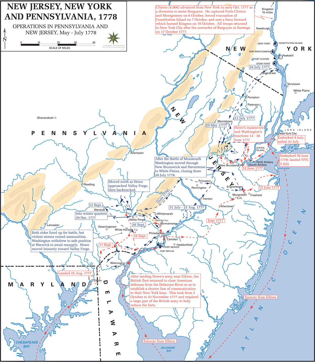 map of the american revolution operations in pennsylvania and new jersey may july