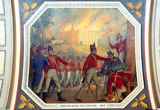 British Burn the Capitol, 1814 - Painting by Allyn Cox