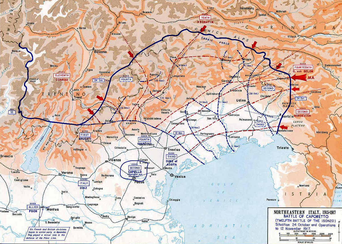 Of The Battle Of Caporetto Oct Nov - 1917 1918 us in europe battles map