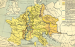 Map of the Carolingian Empire 843 - 888