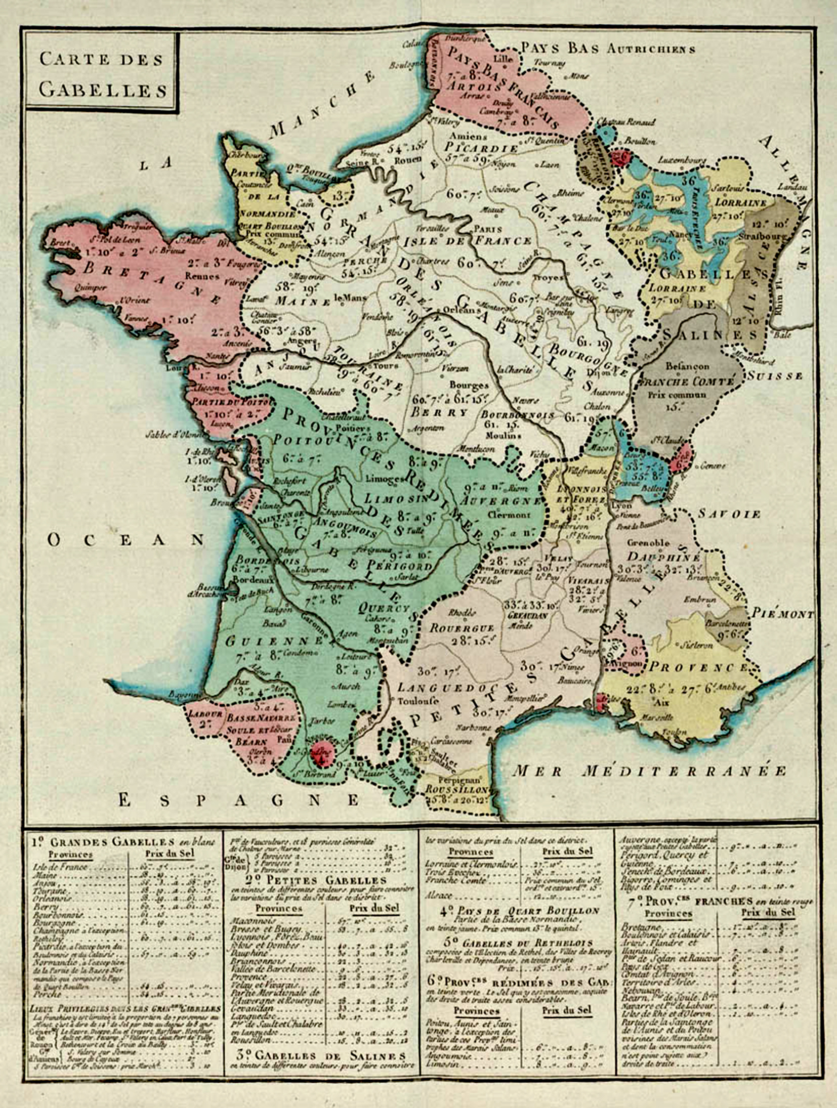 Map of the gabelle, the salt tax in France in 1781.