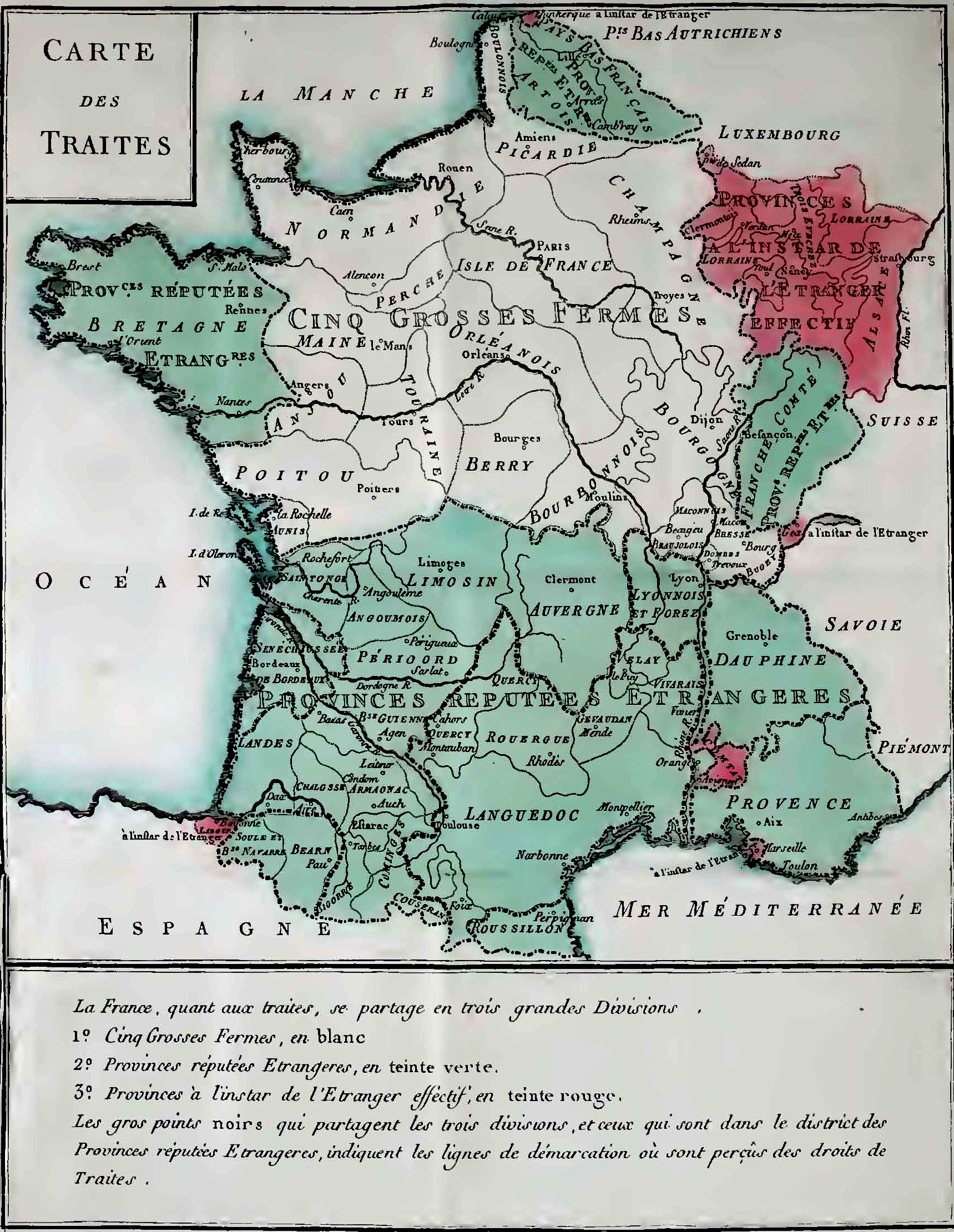 Trade map of France in 1781