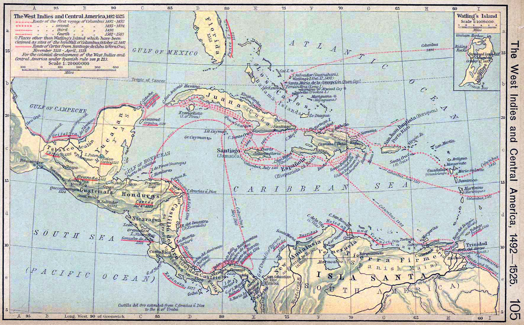 map of the west indies and central america 1492 1525