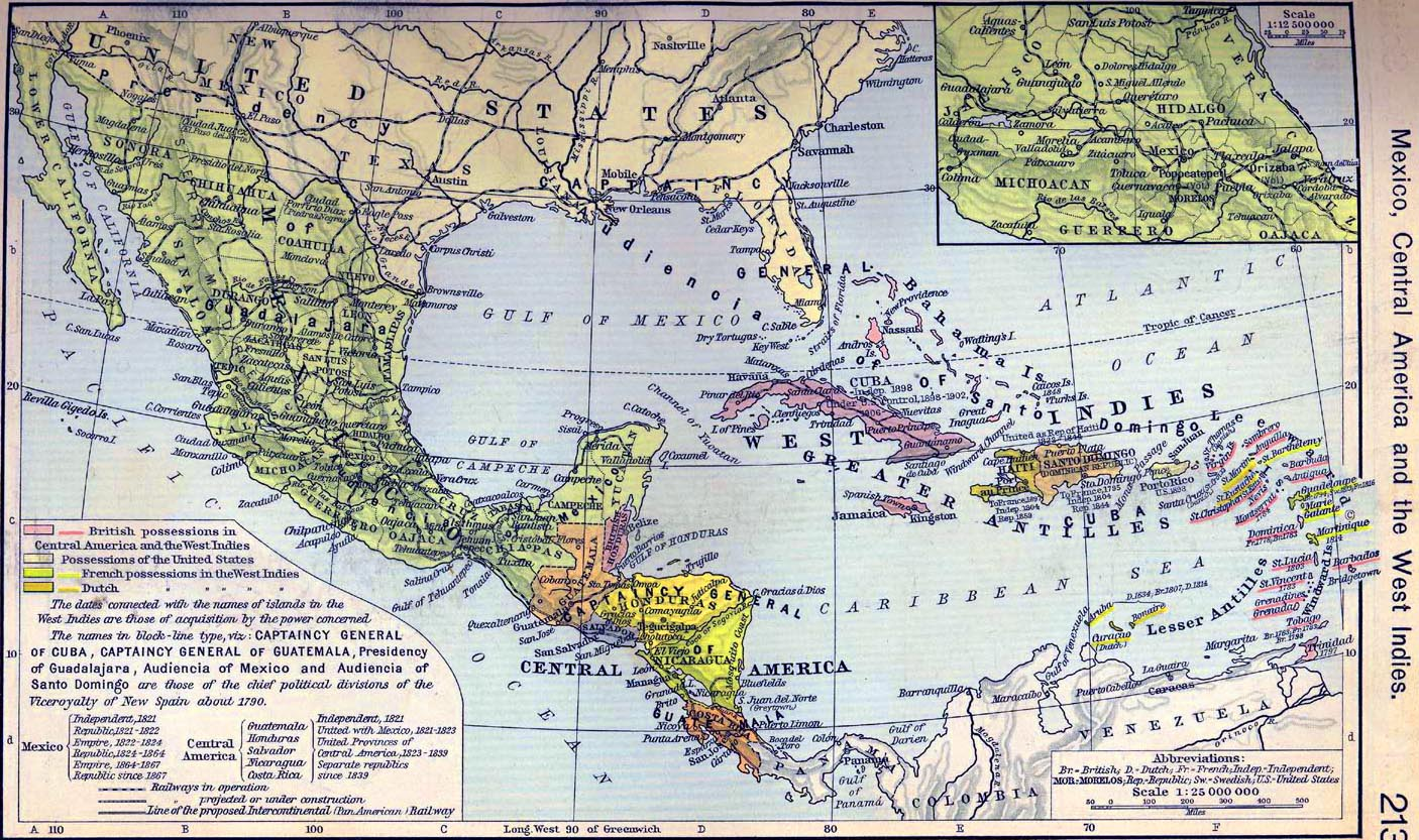 map of mexico central america and the west indies