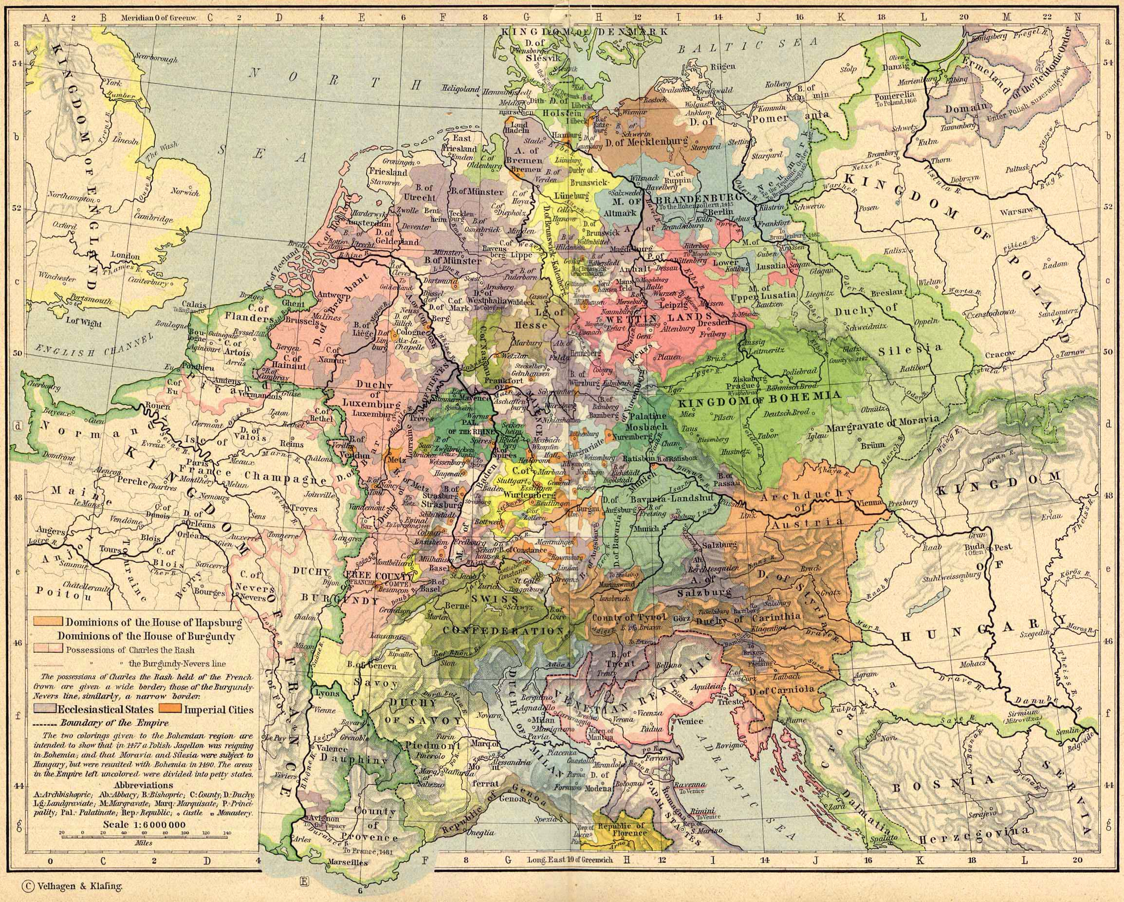 Map of Central Europe about 1477