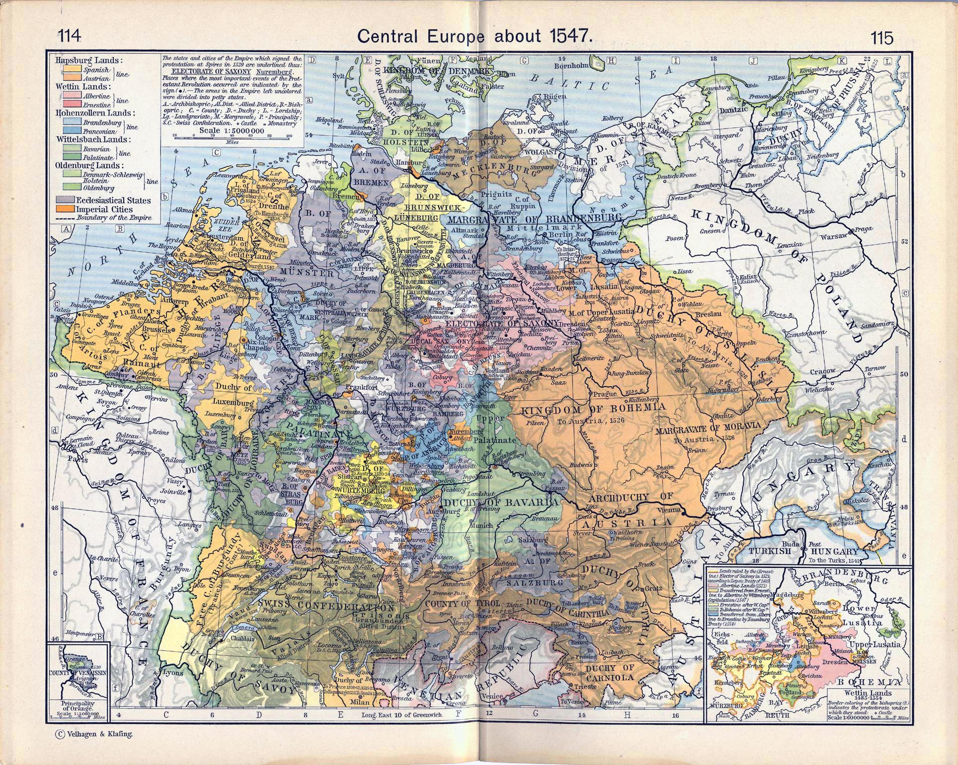 Map of Central Europe about 1547