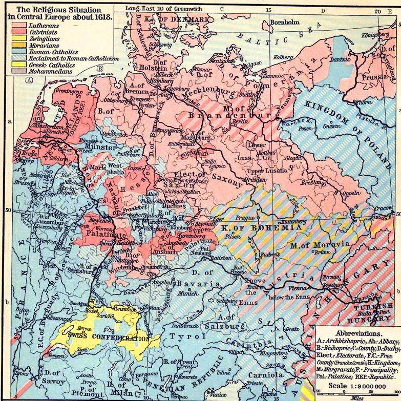 Map Of Central Europe 1618 Religion