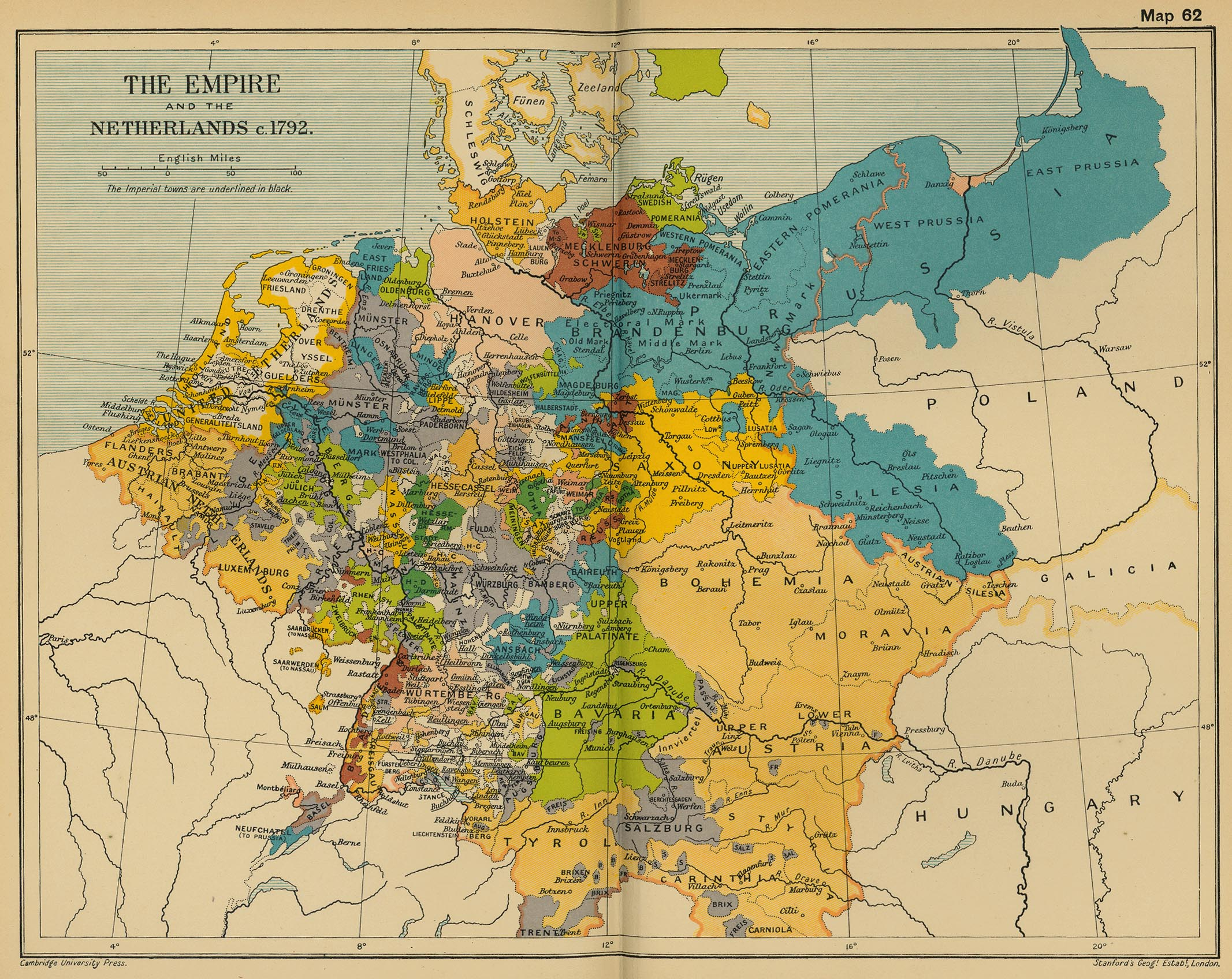 Map of Central Europe 1792: The Empire and the Netherlands