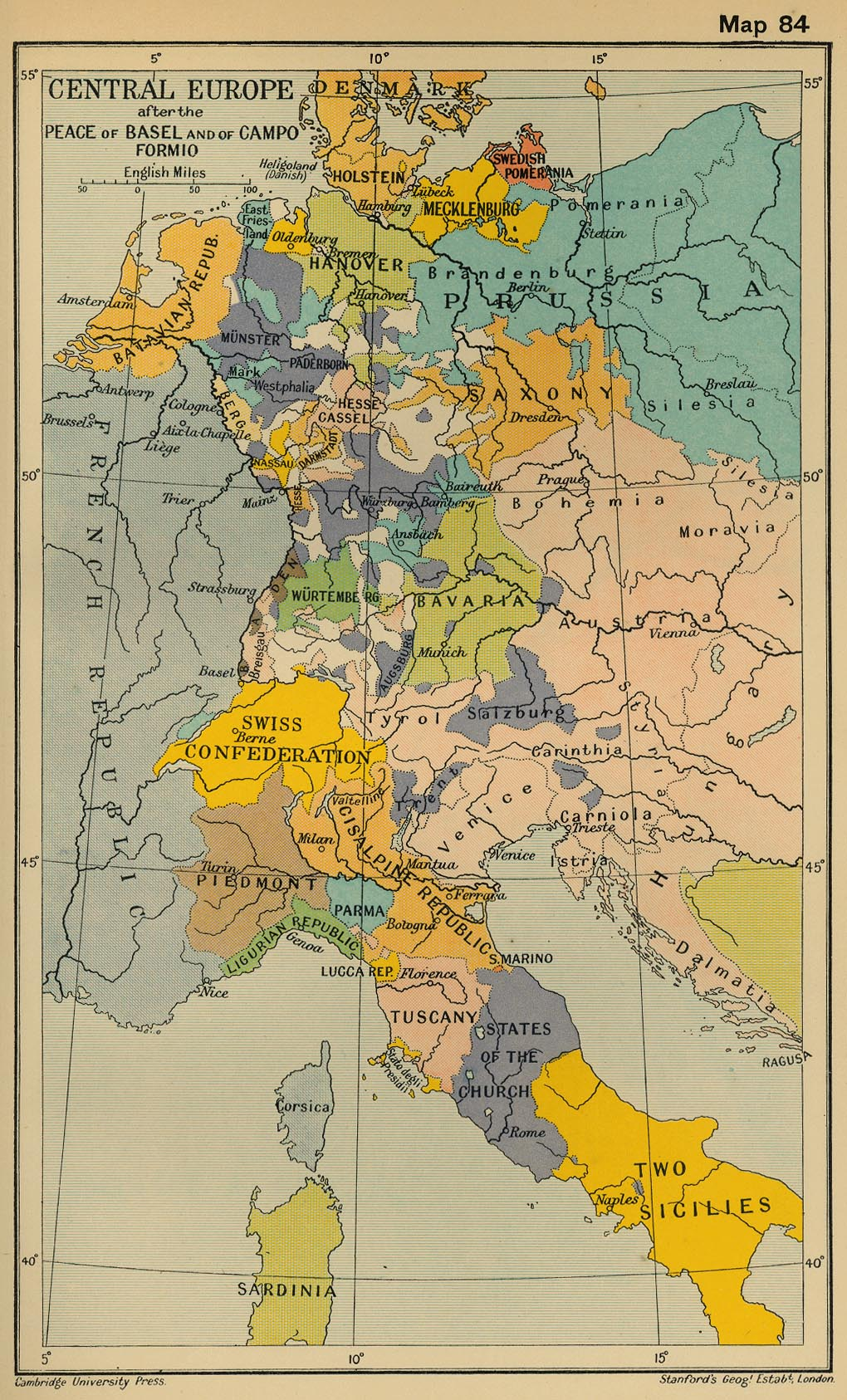 Map of Central Europe after the Peace of Basel and of Campo Formio