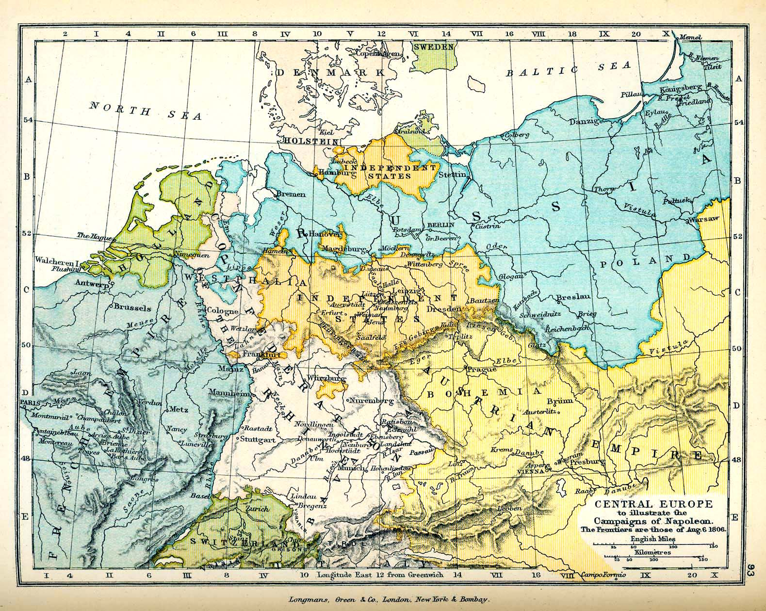 Map of Central Europe in 1806
