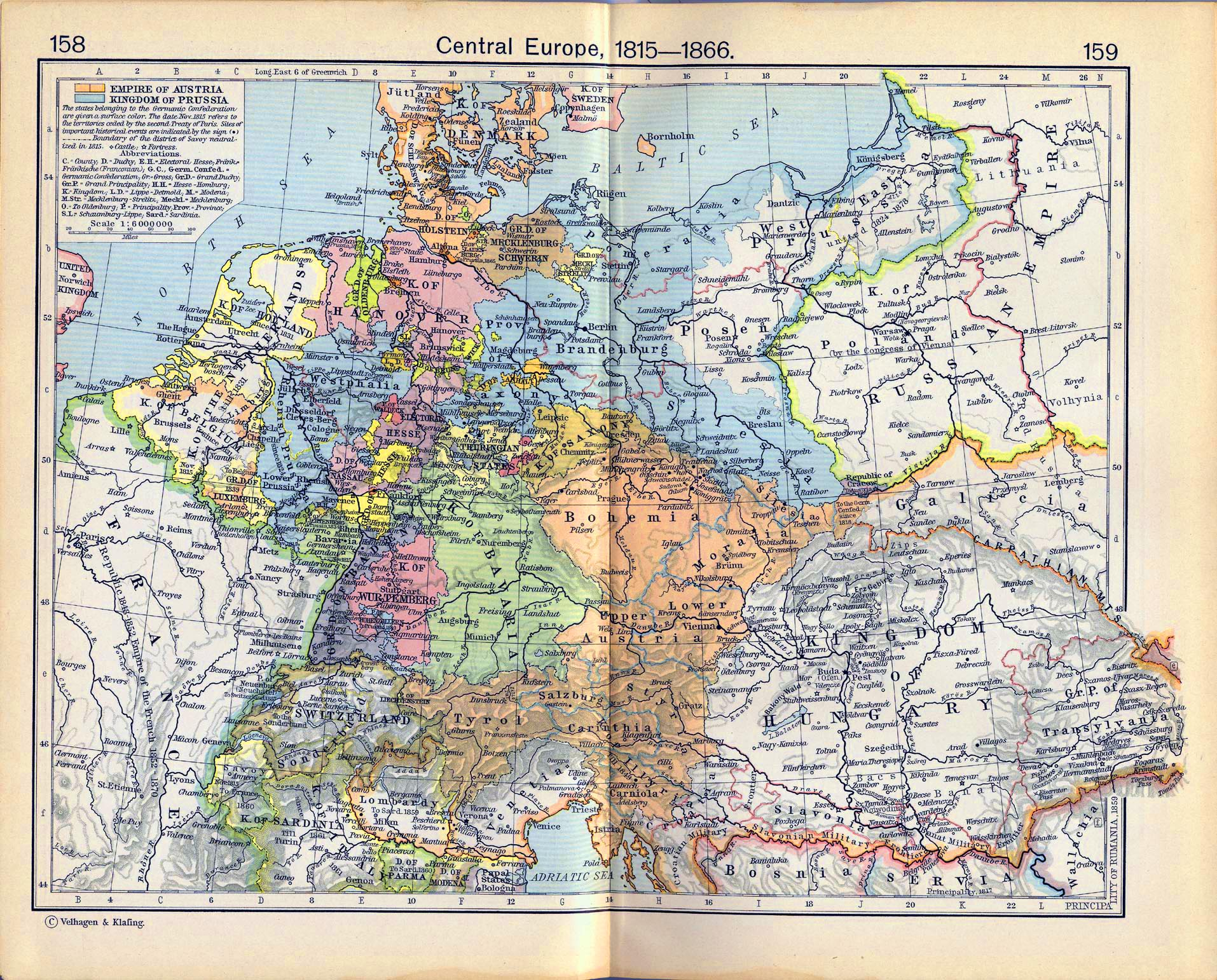 Map of Central Europe 1815-1866