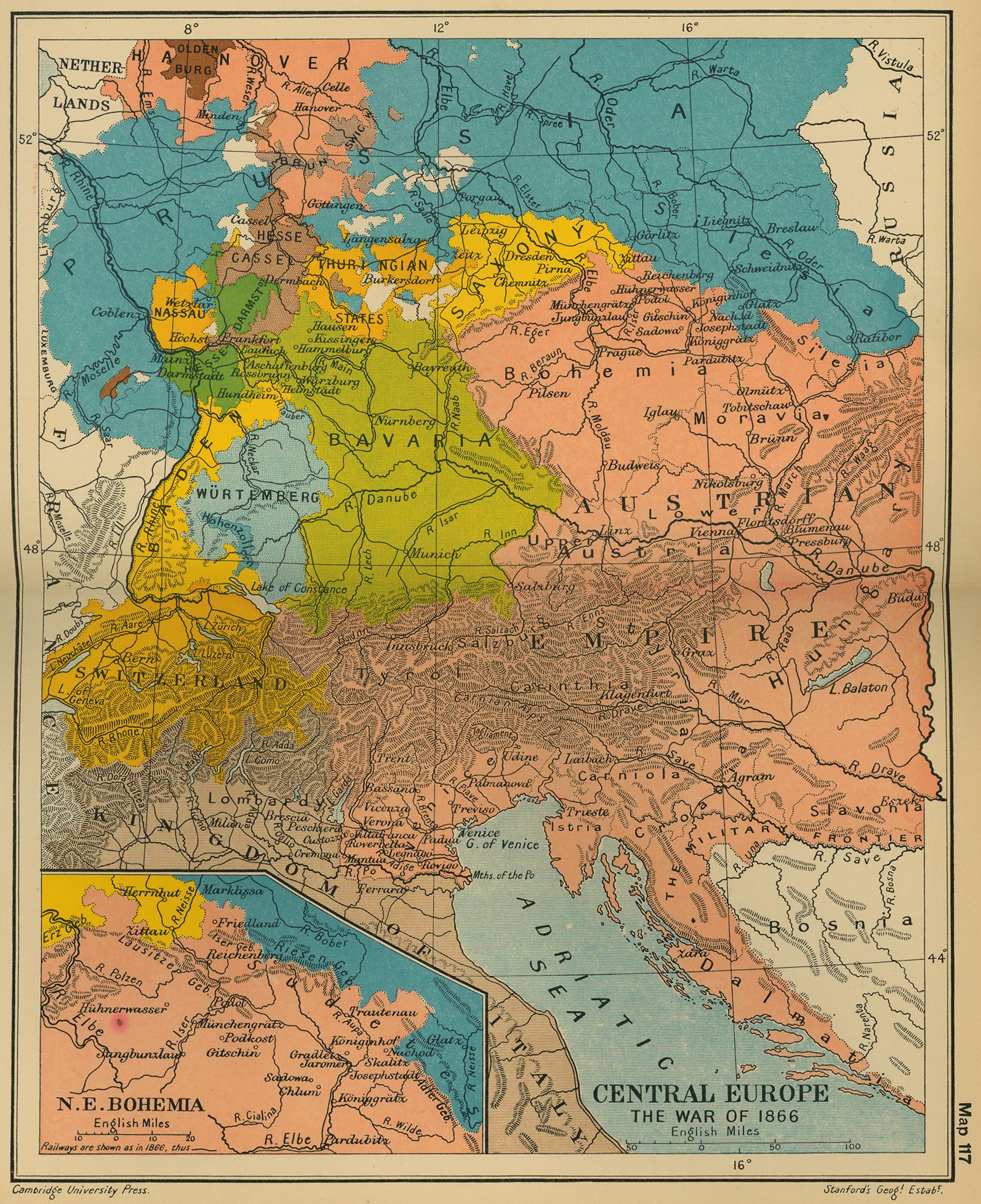 Map of Central Europe 1866
