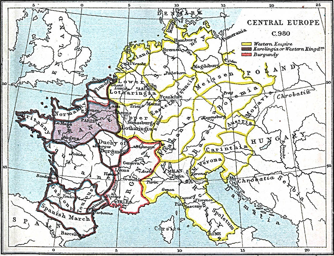 Map of Central Europe in 980