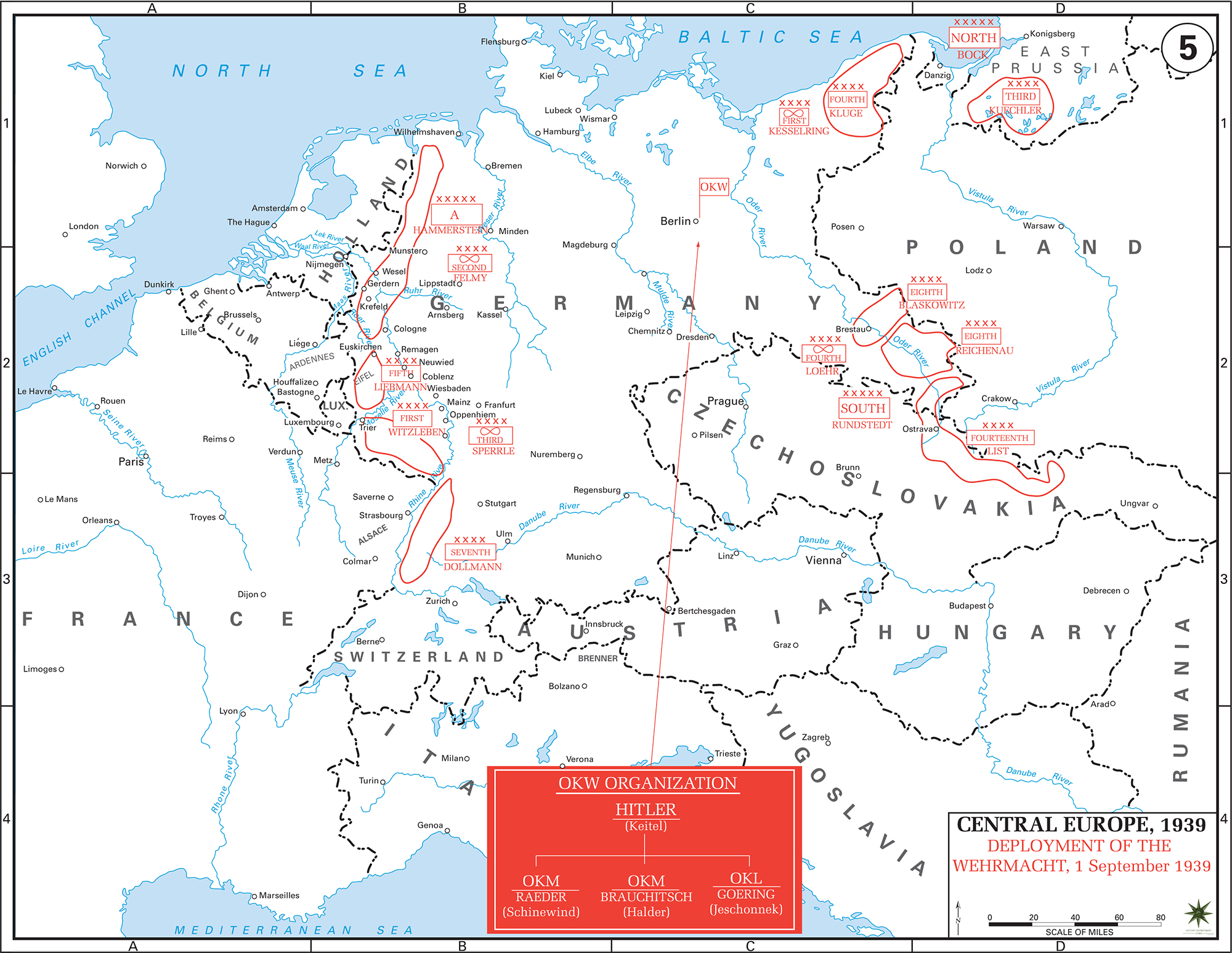Map of WWII - Central Europe 1939 - Wehrmacht