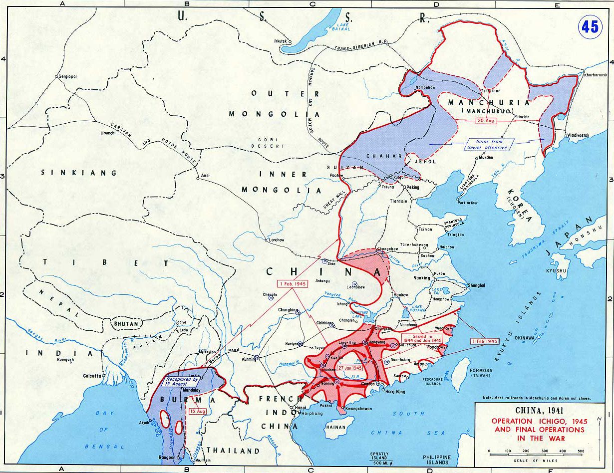 Map of WWII: China 1945