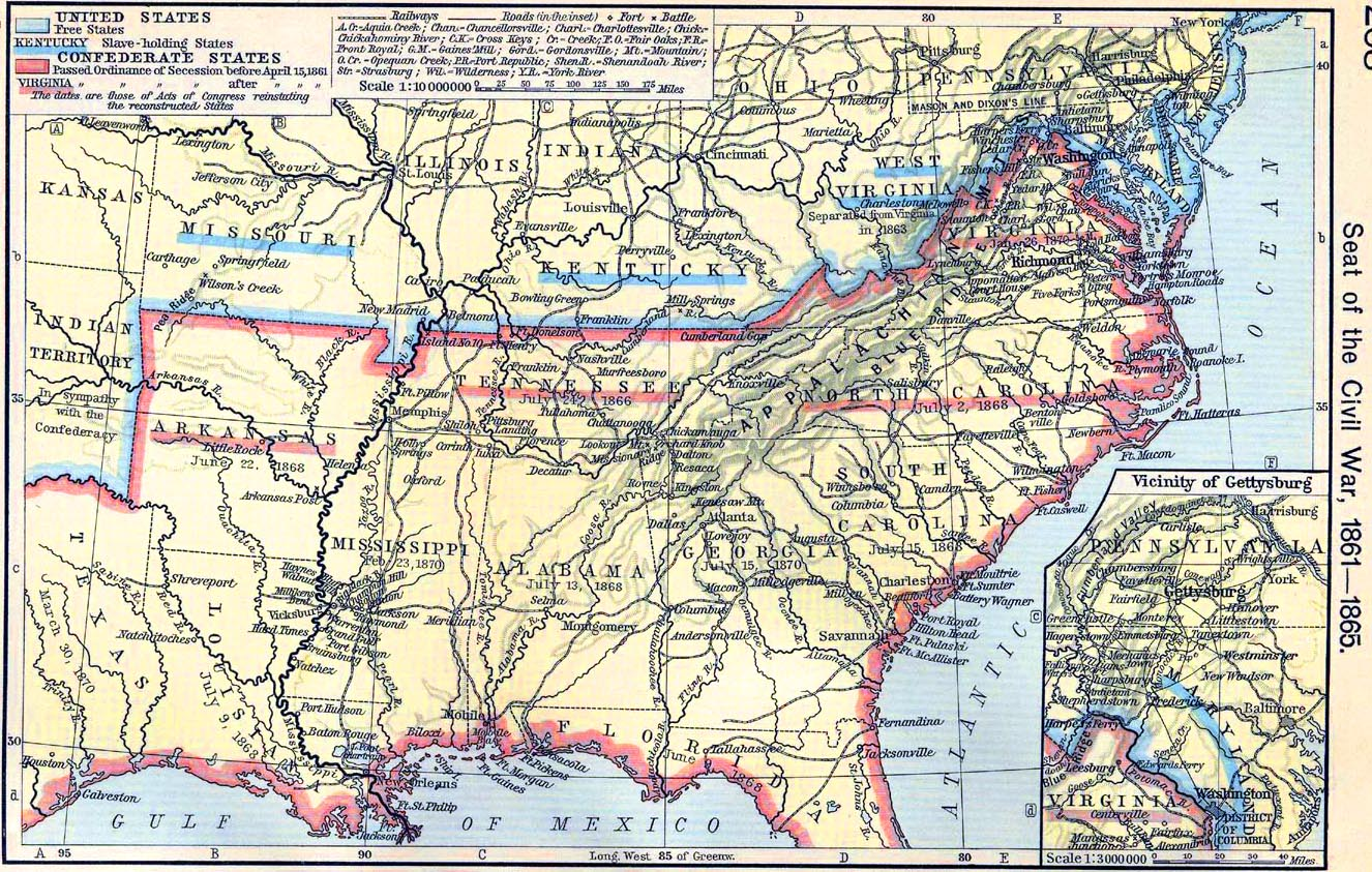 Map Of The American Civil War 1861 1865 - Us-civil-war-map-of-battles