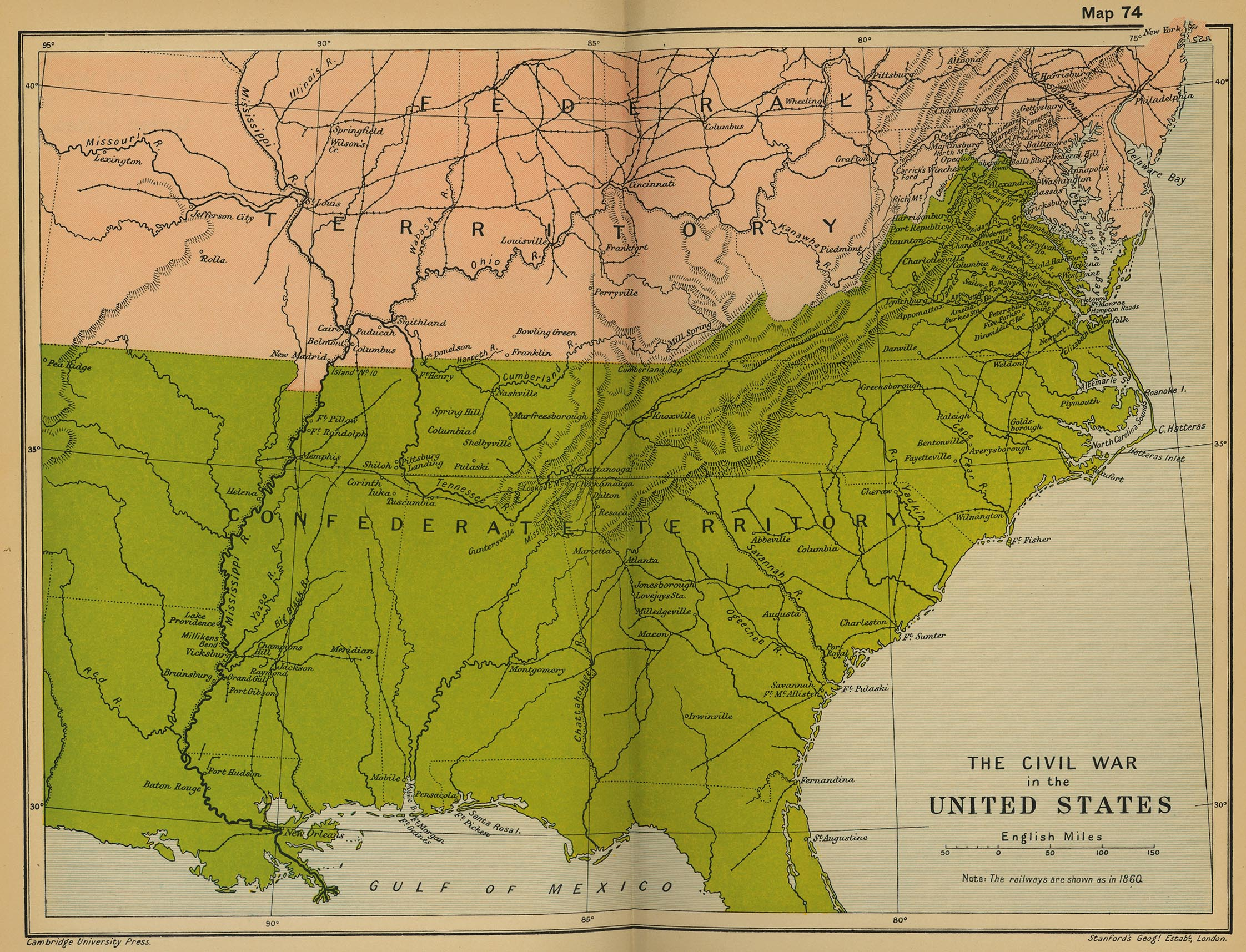 Map of the Civil War in the United States 1861-1865