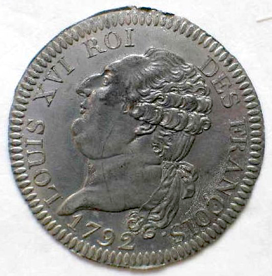 Obverse of a 3 livres coin with Louis XVI sporting a bare neck somewhat invitingly