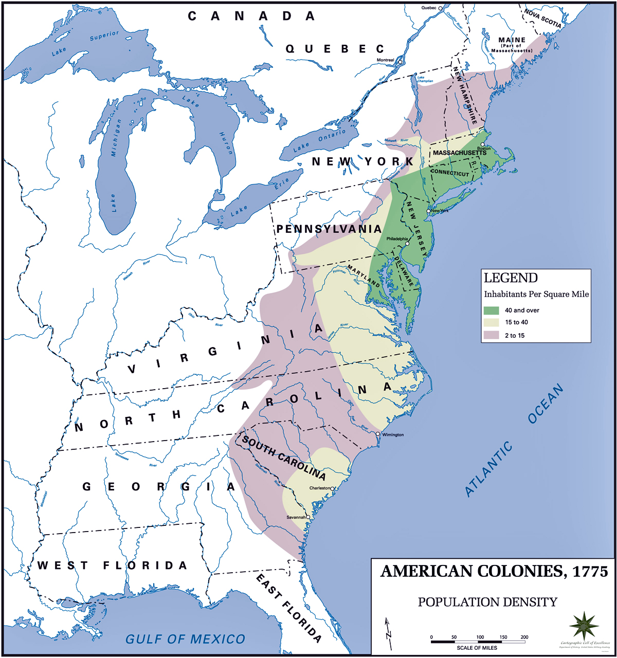 Map of the American Colonies: Potion Density 1775  British Colonies Map on