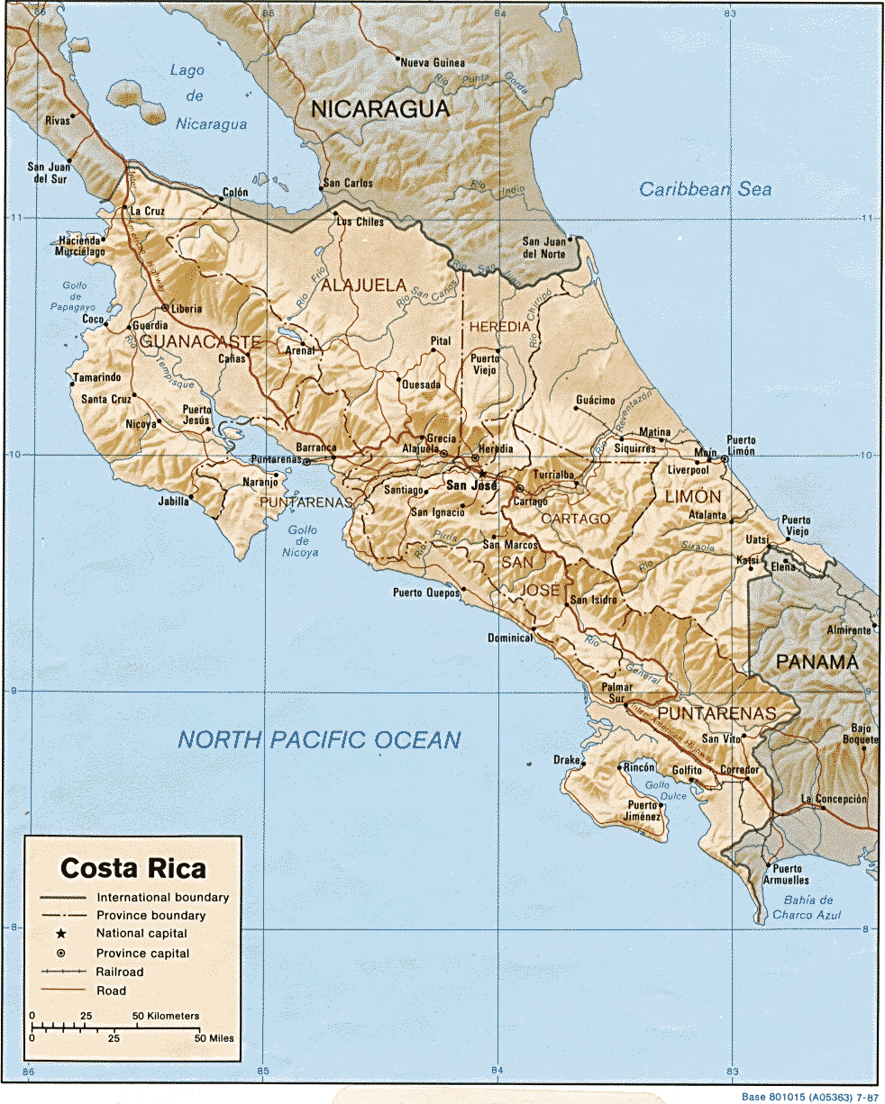 Map of Costa Rica 1987
