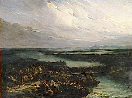 Crossing the Rhine River at Kehl — June 24, 1796. Oil on canvas by Nicolas Toussaint Charlet