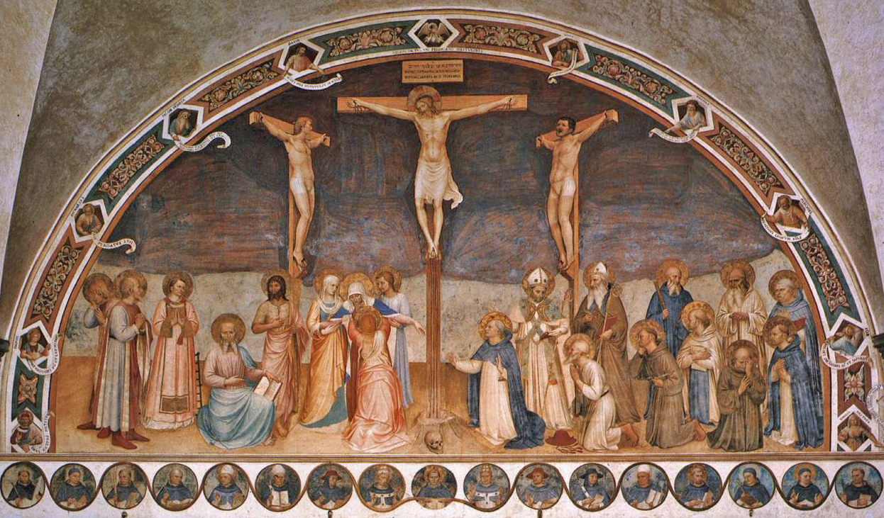 Fra Angelico's fresco Crucifixion With Saints, created in 1441 / 1442, located at the National Museum of San Marco, Florence, Italy