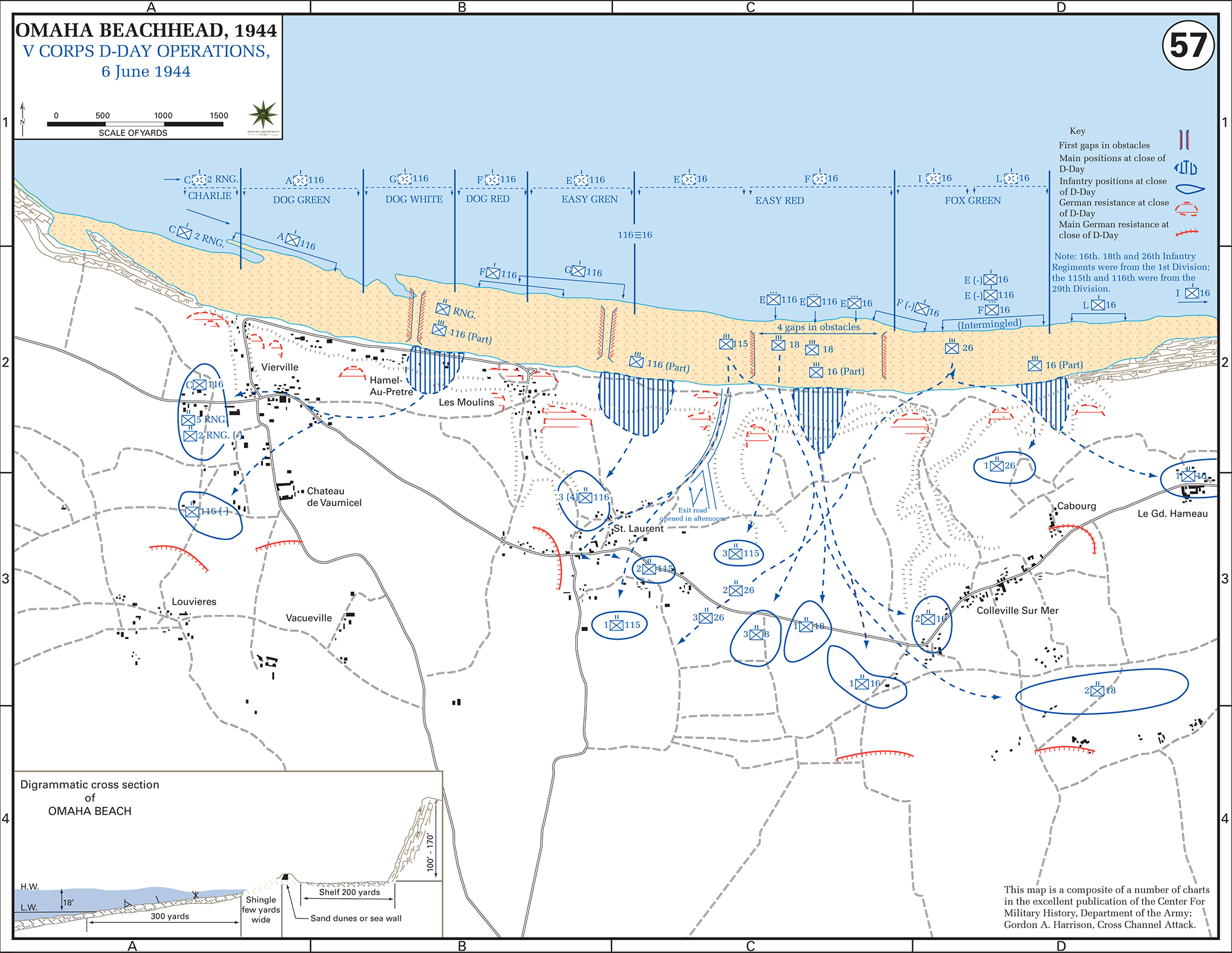 Map Of WWII OMAHA Beachhead DDay June 6 1944