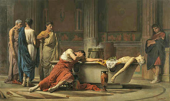 After cutting his veins, Seneca gets into the Bathtub while his sorrowful friends swear their hate - Painting by Manuel Domínguez Sánchez