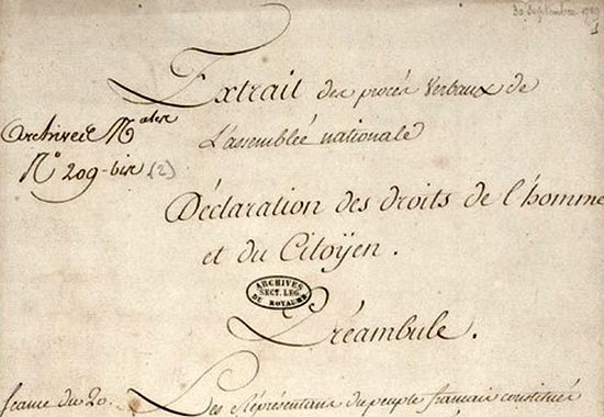 Declaration of the Rights of Man and of the Citizen 1789