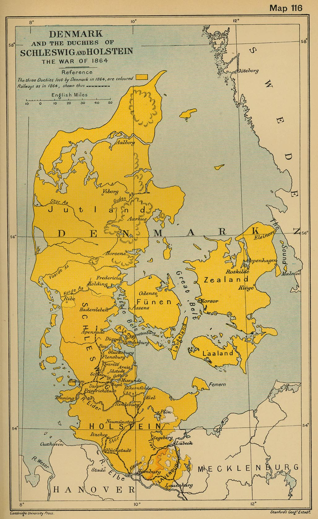 Map of Denmark, Schleswig, Holstein, Lauenburg in 1864