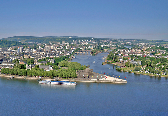 Deutsches Eck (German Corner) at Koblenz, Germany, Where the Rivers Rhine and Mosel Meet