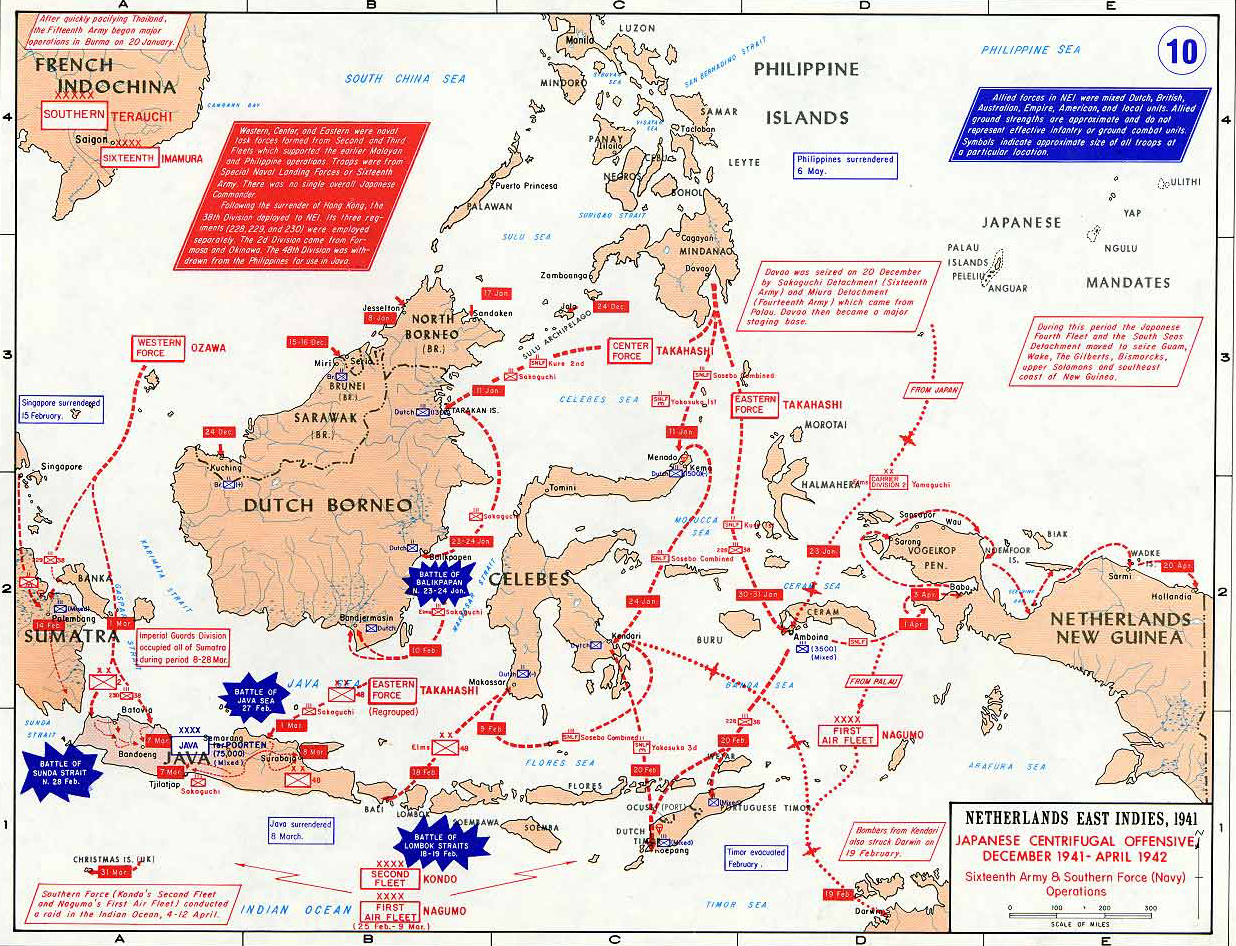 Map of WWII The Dutch East Indies Dec 1941 April 1942