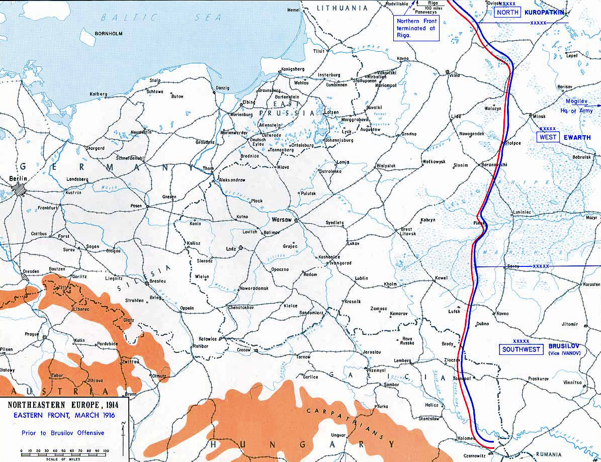 Map of WWI: Eastern Front - March 1916 - Prior to the Brusilov Breakthrough against Austria-Hungary June–August 1916
