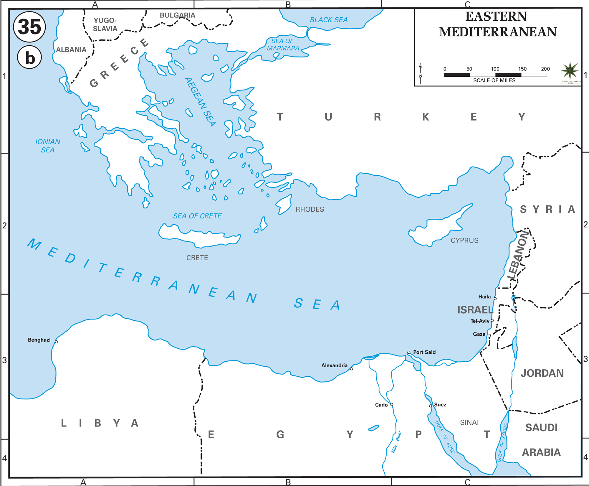 Map of Eastern Mediterranean Countries