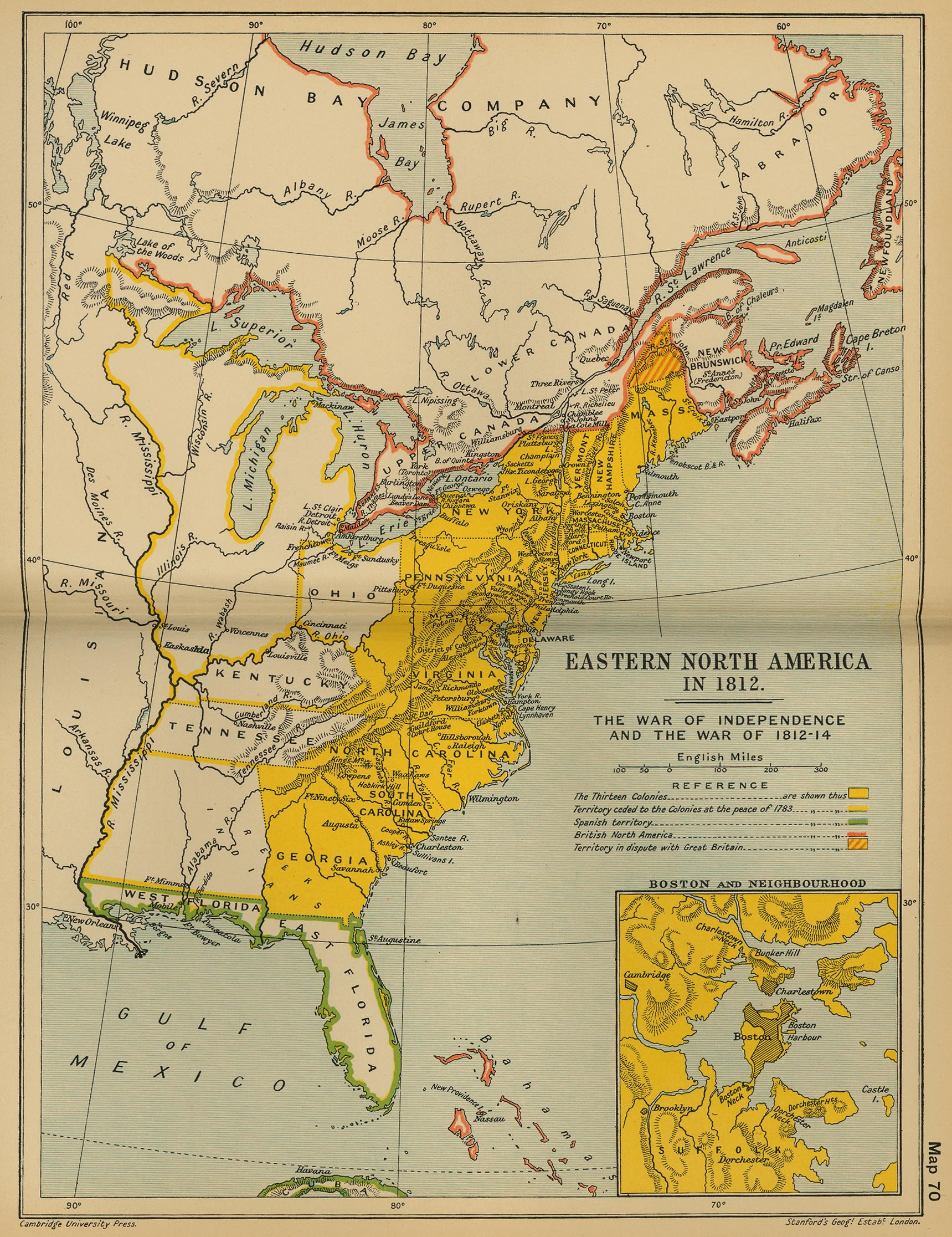 Map of Eastern North America 1812