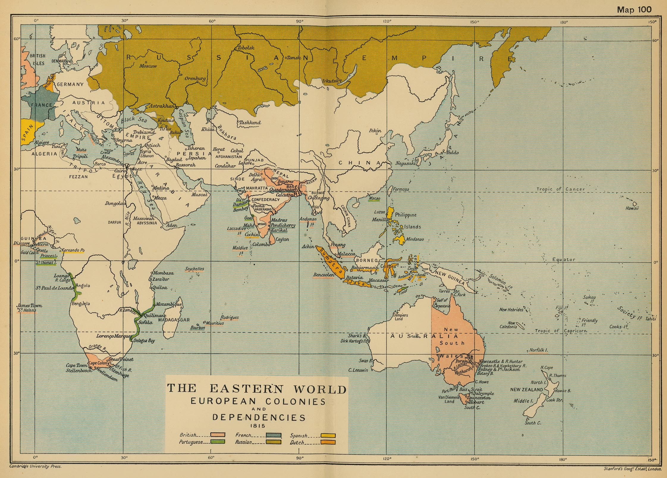 Map of the Eastern World 1815: Colonies and Dependencies