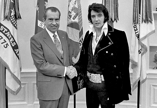 Elvis invited himself to the White House, as kings do, and, on December 21, 1970, he shook Nixon's hand in the Oval Office
