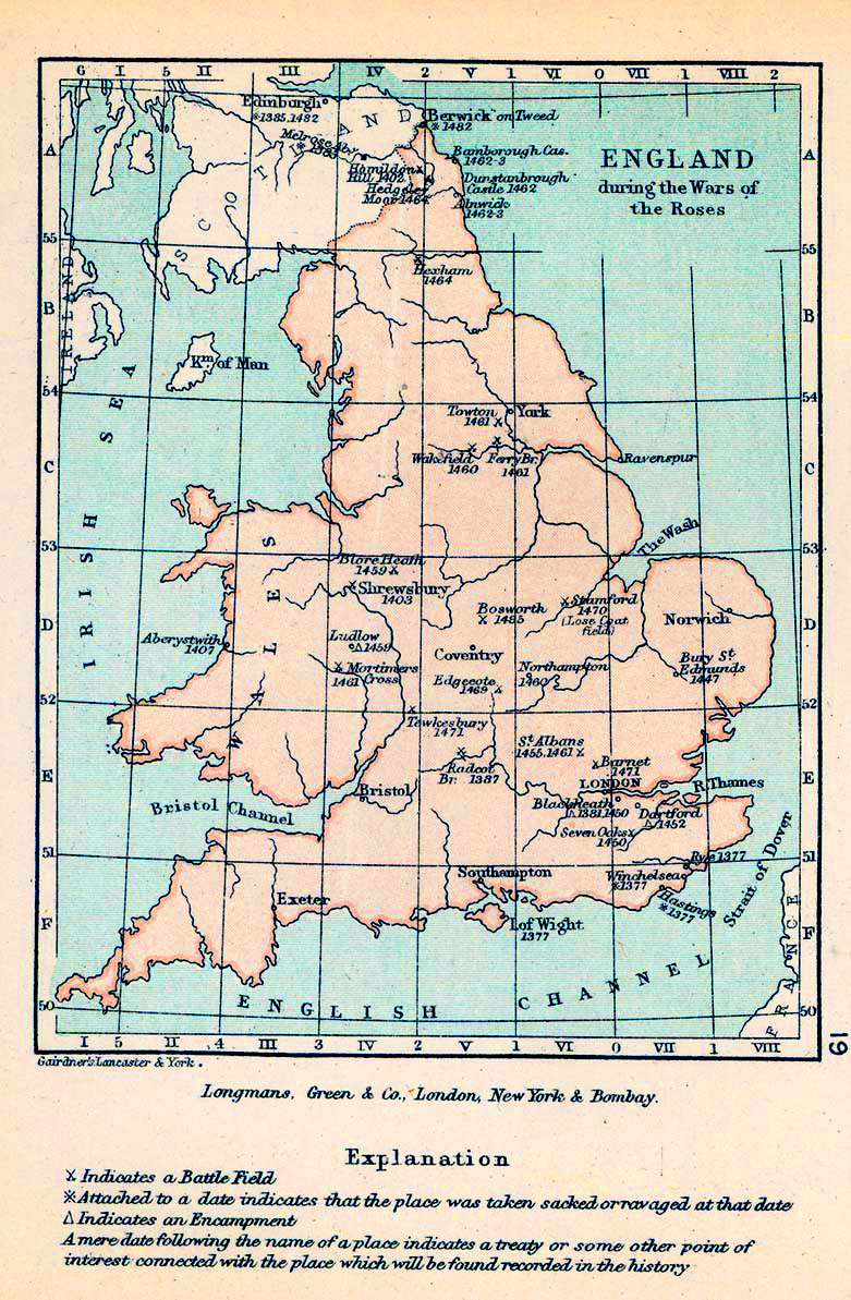 Map of England during the Wars of the Roses 1455-1485