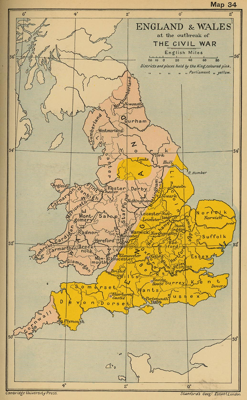 Map of England and Wales at the beginning of the Civil War 1642
